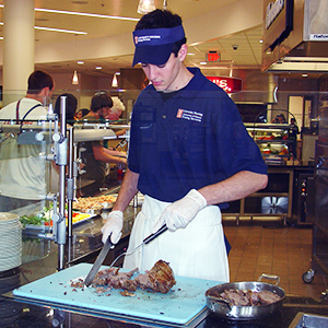 Student working in the dining hall